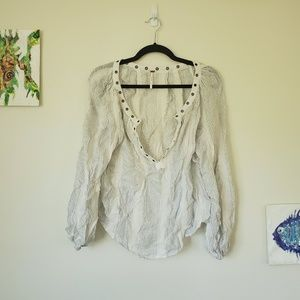 Free People - White Glitter Striped & Studded Top